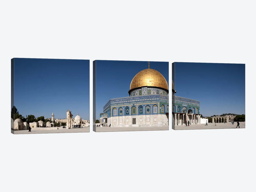 Town square, Dome Of the Rock, Temple Mount, Jerusalem, Israel by Panoramic Images 3-piece Canvas Artwork