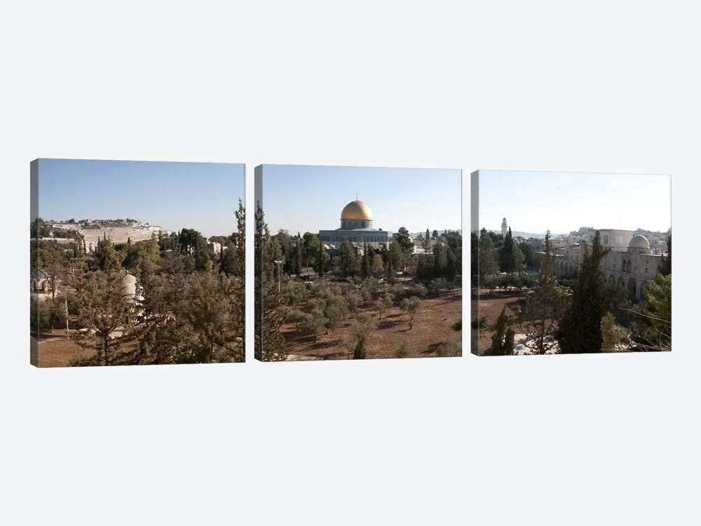Trees with mosque in the background, Dome Of the Rock, Temple Mount, Jerusalem, Israel by Panoramic Images 3-piece Canvas Wall Art