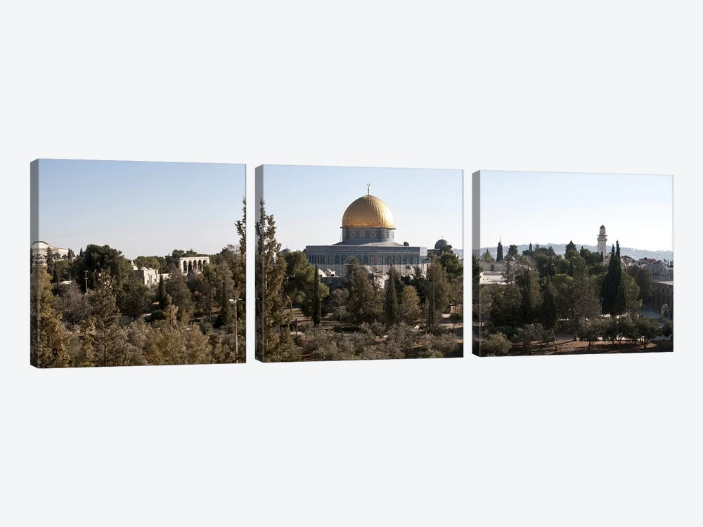 Trees with mosque in the background, Dome Of the Rock, Temple Mount, Jerusalem, Israel #2 by Panoramic Images 3-piece Canvas Art Print