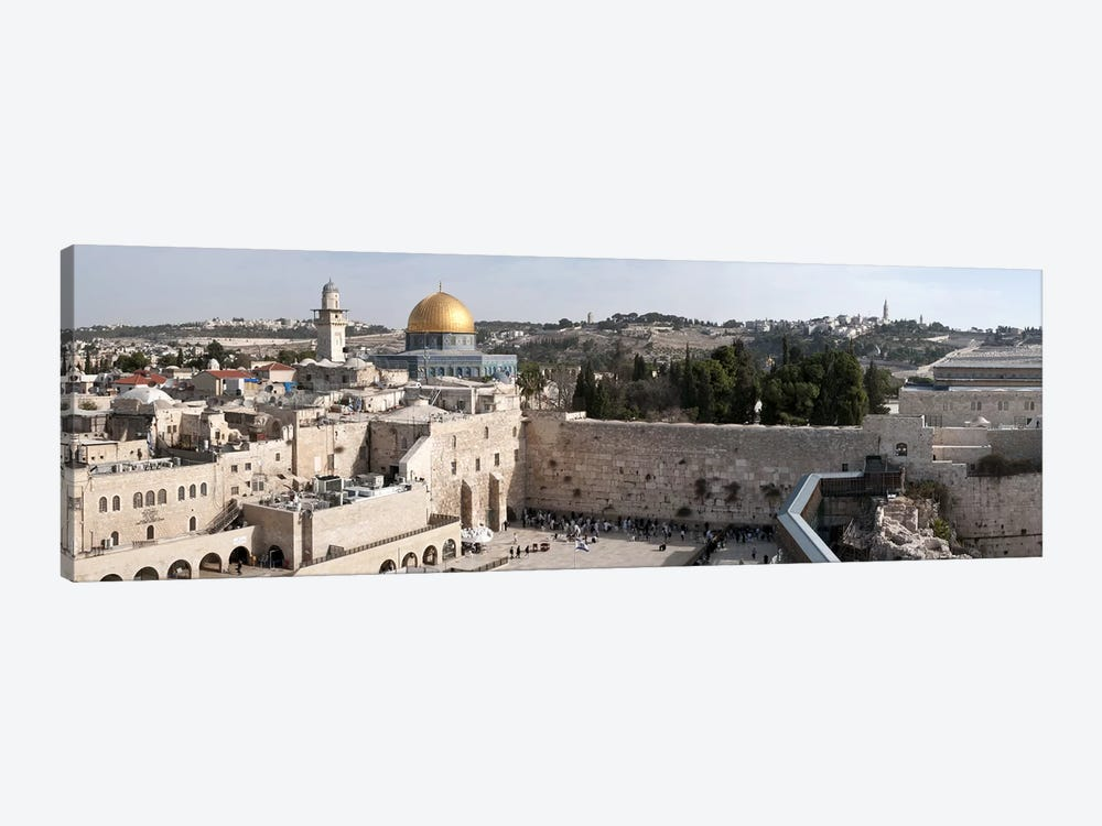 Tourists praying at a wall, Wailing Wall, Dome Of the Rock, Temple Mount, Jerusalem, Israel by Panoramic Images 1-piece Canvas Print