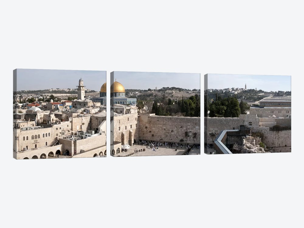 Tourists praying at a wall, Wailing Wall, Dome Of the Rock, Temple Mount, Jerusalem, Israel by Panoramic Images 3-piece Canvas Print
