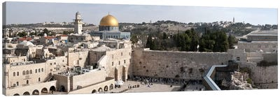 Tourists praying at a wall, Wailing Wall, Dome Of the Rock, Temple Mount, Jerusalem, Israel Canvas Art Print
