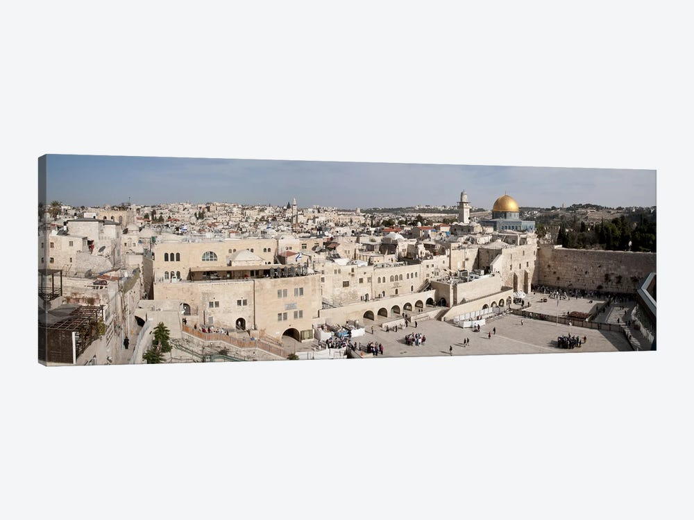Tourists praying at a wall, Wailing Wall, Dome Of the Rock, Temple Mount, Jerusalem, Israel #3 by Panoramic Images 1-piece Canvas Art