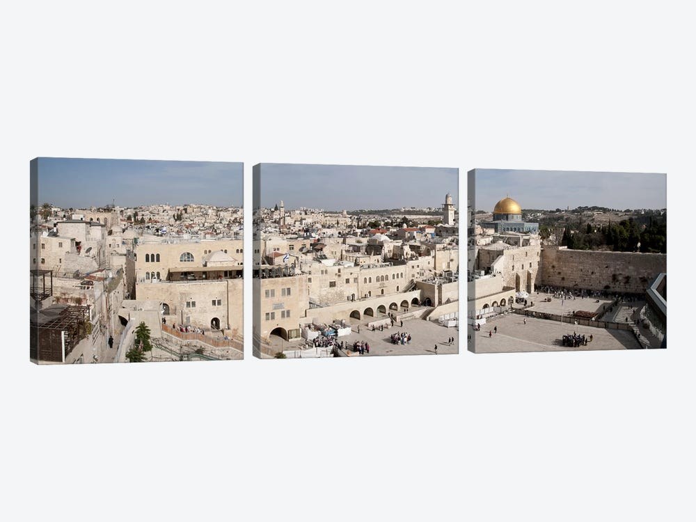 Tourists praying at a wall, Wailing Wall, Dome Of the Rock, Temple Mount, Jerusalem, Israel #3 by Panoramic Images 3-piece Canvas Wall Art