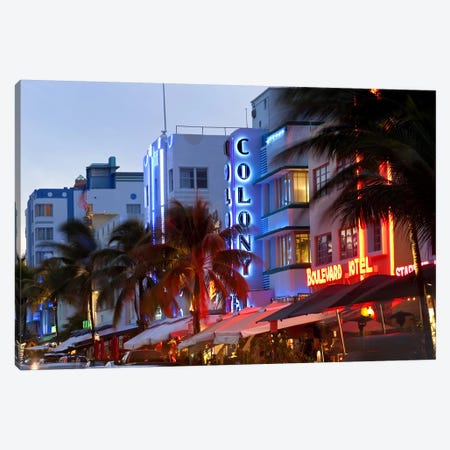 Hotels lit up at dusk in a city, Miami, Miami-Dade County, Florida, USA Canvas Print #PIM9273} by Panoramic Images Canvas Print
