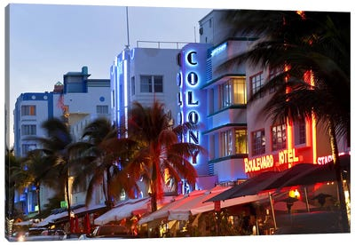 Hotels lit up at dusk in a city, Miami, Miami-Dade County, Florida, USA Canvas Art Print