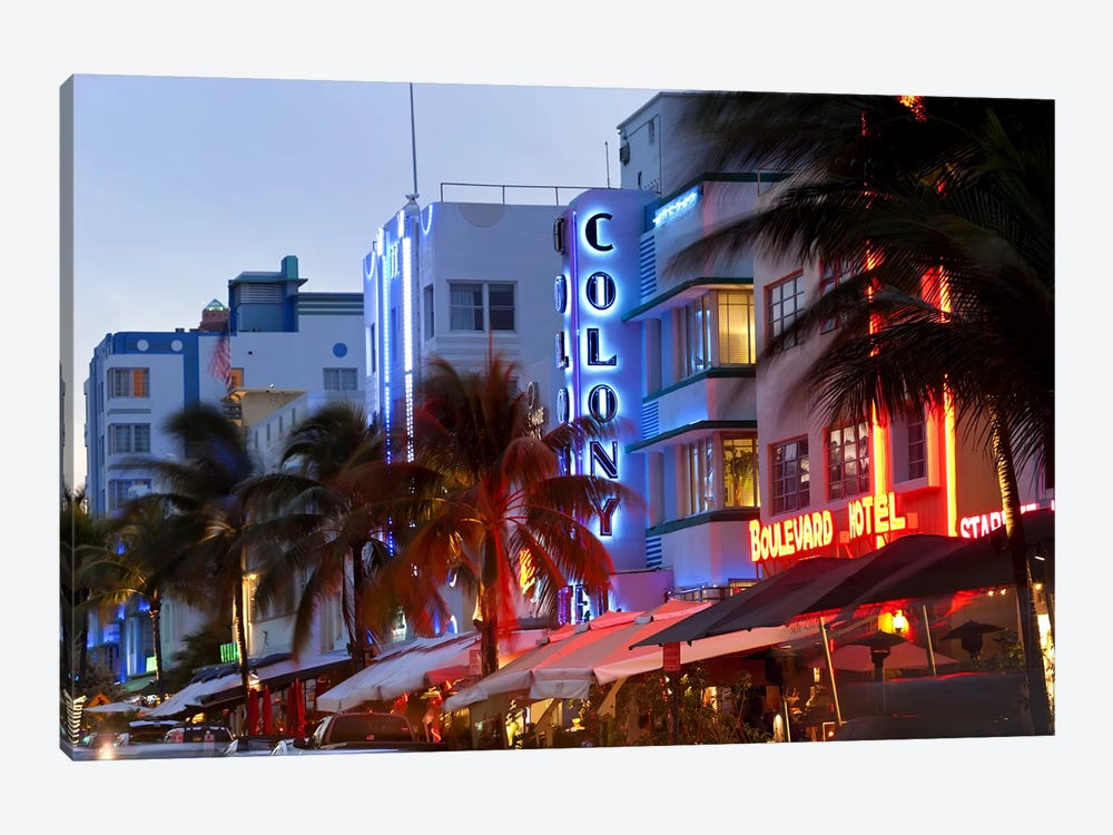 Hotels lit up at dusk in a city, Miami, Miami-Dade County, Florida, USA by Panoramic Images 1-piece Canvas Artwork