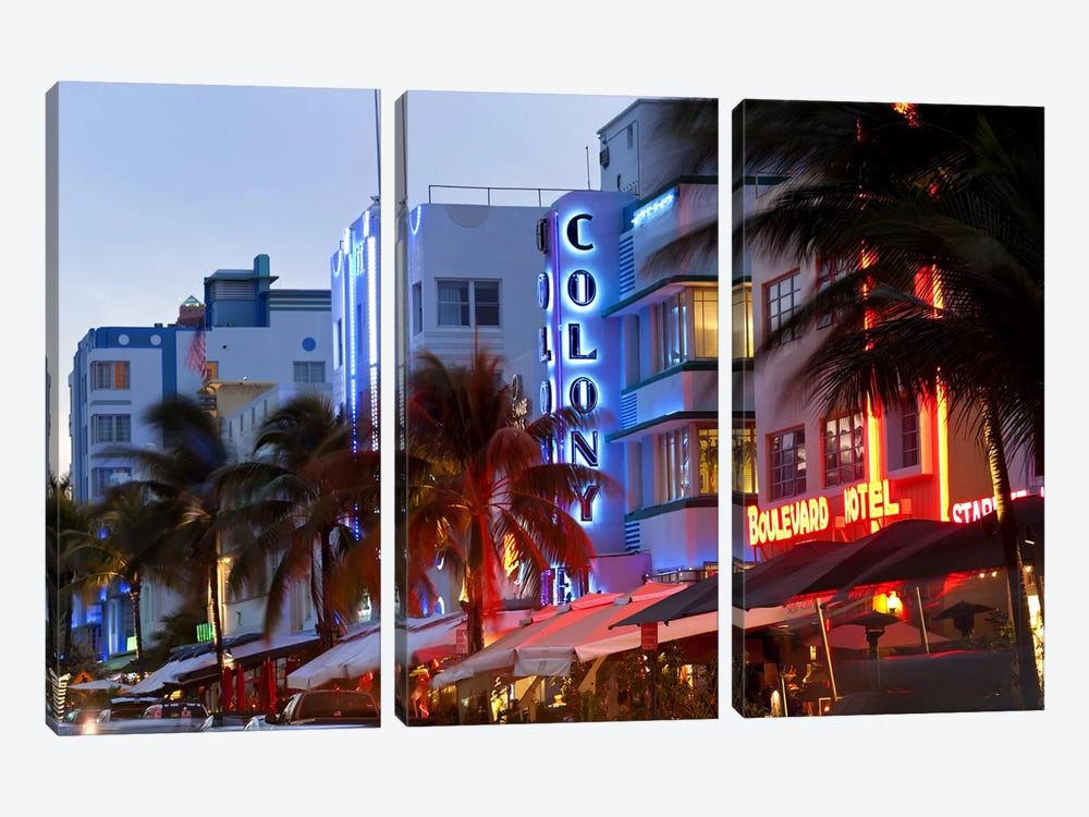 Hotels lit up at dusk in a city, Miami, Miami-Dade County, Florida, USA 3-piece Canvas Wall Art