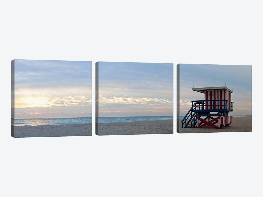 Lifeguard on the beach, Miami, Miami-Dade County, Florida, USA by Panoramic Images 3-piece Canvas Print