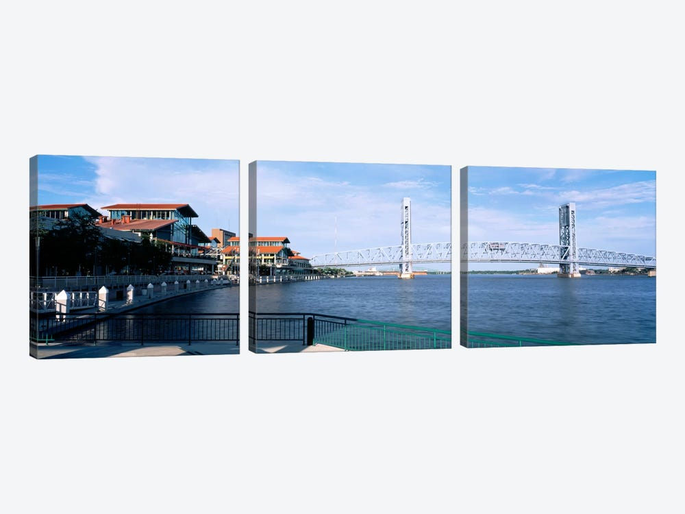 Bridge Over A River, Main Street, St. Johns River, Jacksonville, Florida, USA by Panoramic Images 3-piece Canvas Print