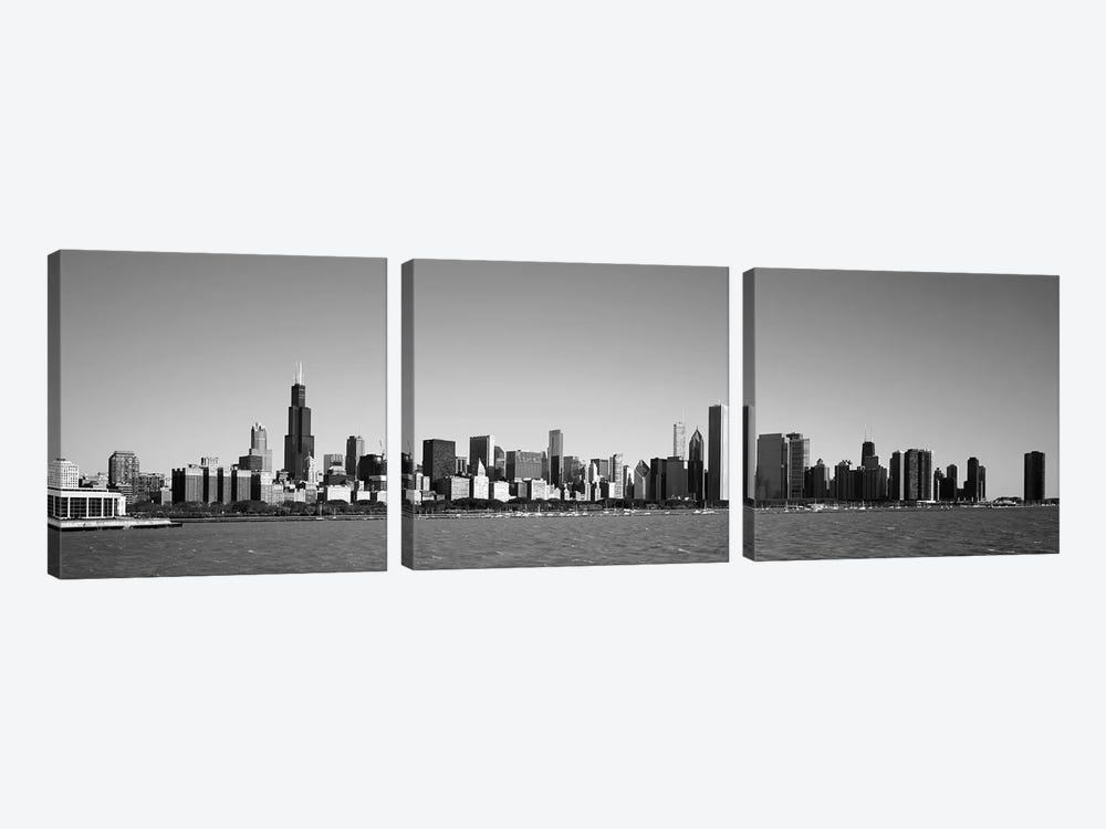 Skyscrapers at the waterfront, Willis Tower, Chicago, Cook County, Illinois, USA by Panoramic Images 3-piece Canvas Artwork