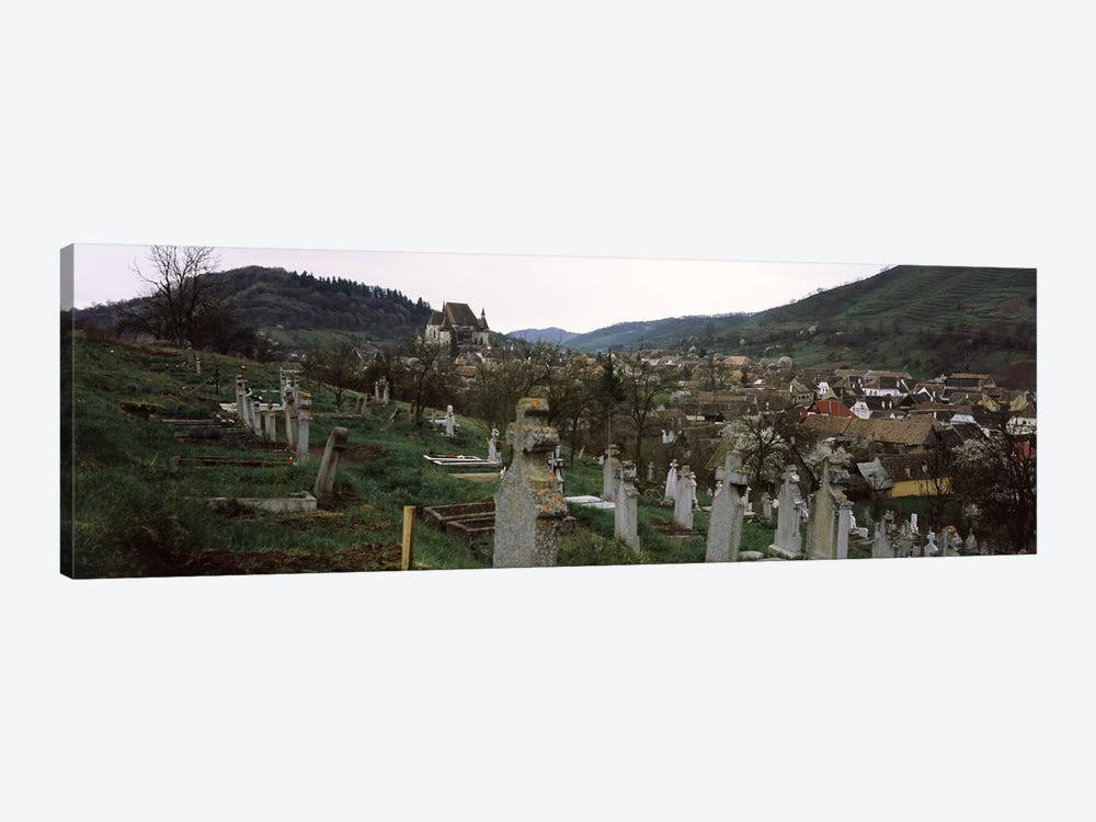 Tombstones in a cemetery, Saxon Church, Biertan, Sibiu County, Transylvania, Romania by Panoramic Images 1-piece Canvas Art Print