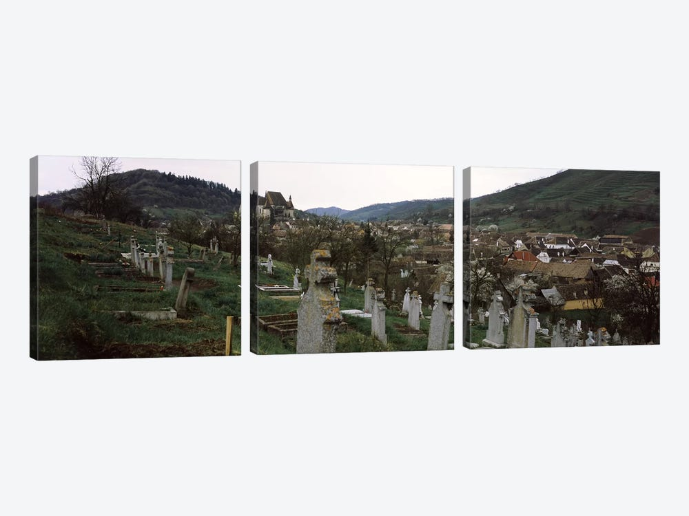 Tombstones in a cemetery, Saxon Church, Biertan, Sibiu County, Transylvania, Romania by Panoramic Images 3-piece Canvas Art Print