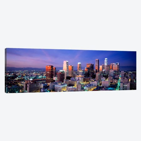 NightSkyline, Cityscape, Los Angeles, California, USA Canvas Print #PIM929} by Panoramic Images Canvas Art Print