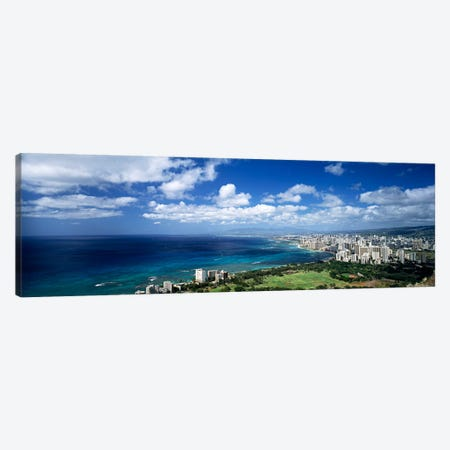 High angle view of skyscrapers at the waterfront, Honolulu, Oahu, Hawaii Islands, USA Canvas Print #PIM92} by Panoramic Images Canvas Print
