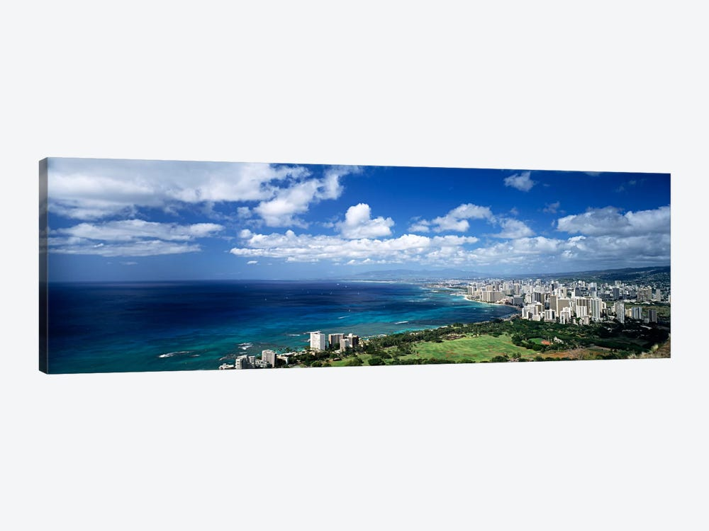 High angle view of skyscrapers at the waterfront, Honolulu, Oahu, Hawaii Islands, USA by Panoramic Images 1-piece Canvas Print