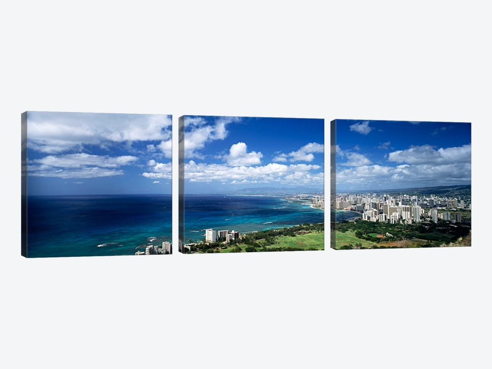 High angle view of skyscrapers at the waterfront, Honolulu, Oahu, Hawaii Islands, USA by Panoramic Images 3-piece Art Print