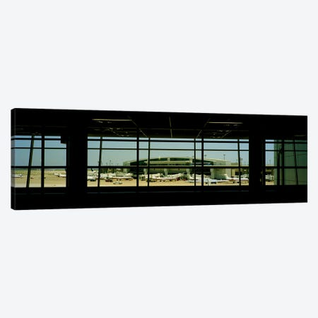 Airport viewed from inside the terminal, Dallas Fort Worth International Airport, Dallas, Texas, USA Canvas Print #PIM9302} by Panoramic Images Canvas Print