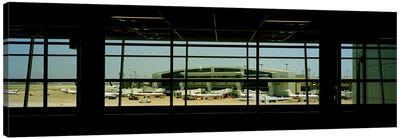 Airport viewed from inside the terminal, Dallas Fort Worth International Airport, Dallas, Texas, USA Canvas Art Print