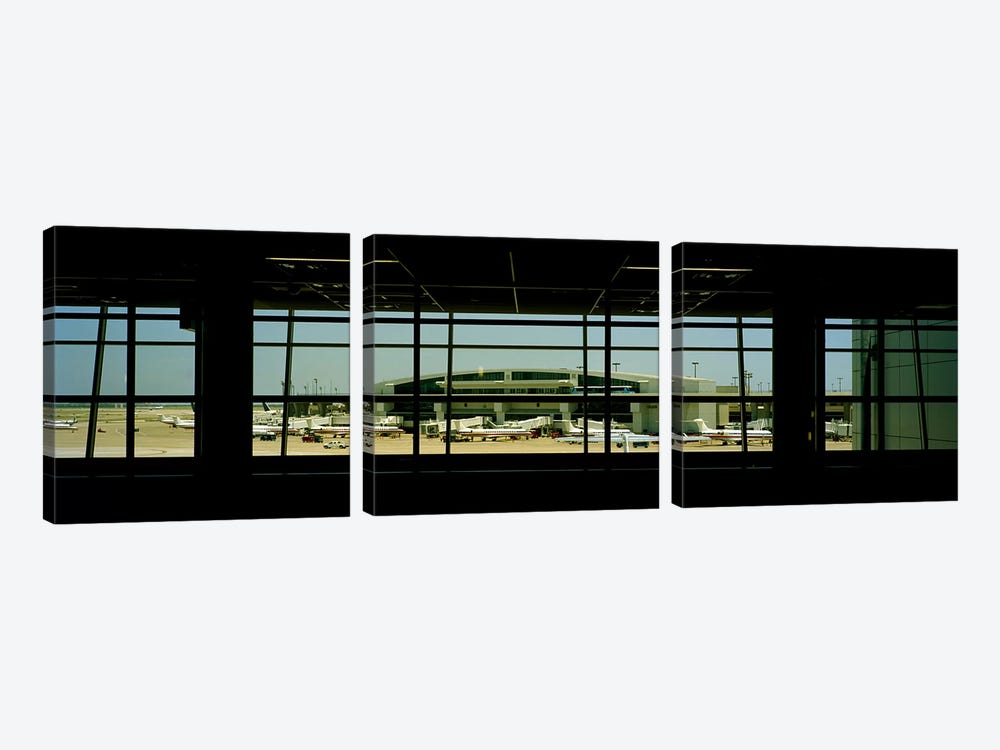 Airport viewed from inside the terminal, Dallas Fort Worth International Airport, Dallas, Texas, USA by Panoramic Images 3-piece Canvas Print