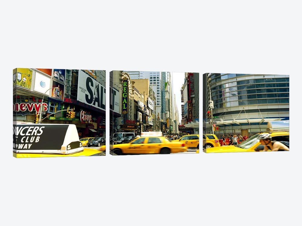 Traffic in a city, 42nd Street, Eighth Avenue, Times Square, Manhattan, New York City, New York State, USA by Panoramic Images 3-piece Canvas Print