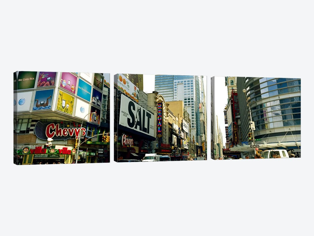 Traffic in a city, 42nd Street, Eighth Avenue, Times Square, Manhattan, New York City, New York State, USA #2 by Panoramic Images 3-piece Canvas Art