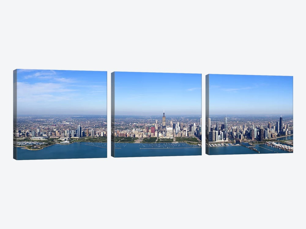 Aerial view of a cityscape, Trump International Hotel And Tower, Willis Tower, Chicago, Cook County, Illinois, USA by Panoramic Images 3-piece Canvas Art Print