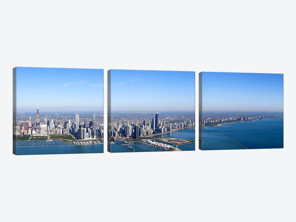 Aerial view of a cityscape, Trump International Hotel And Tower, Willis Tower, Chicago, Cook County, Illinois, USA #2 by Panoramic Images 3-piece Canvas Wall Art
