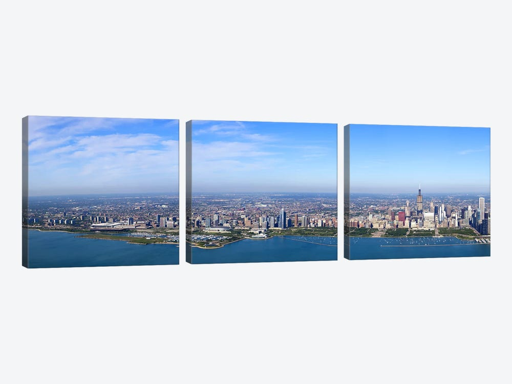 Aerial view of a cityscape, Trump International Hotel And Tower, Willis Tower, Chicago, Cook County, Illinois, USA #3 by Panoramic Images 3-piece Art Print