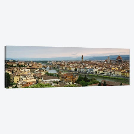 Buildings in a city, Ponte Vecchio, Arno River, Duomo Santa Maria Del Fiore, Florence, Tuscany, Italy Canvas Print #PIM9323} by Panoramic Images Art Print