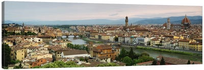 Buildings in a city, Ponte Vecchio, Arno River, Duomo Santa Maria Del Fiore, Florence, Tuscany, Italy by Panoramic Images Art Print