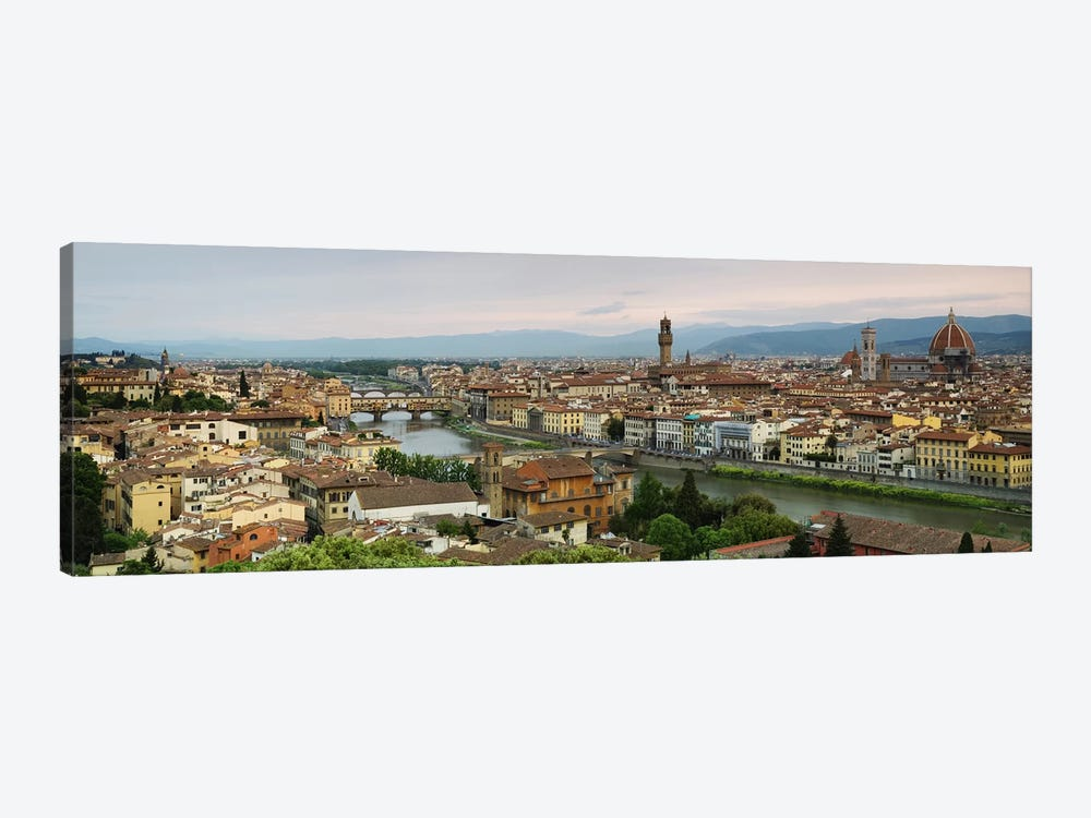 Buildings in a city, Ponte Vecchio, Arno River, Duomo Santa Maria Del Fiore, Florence, Tuscany, Italy by Panoramic Images 1-piece Canvas Artwork