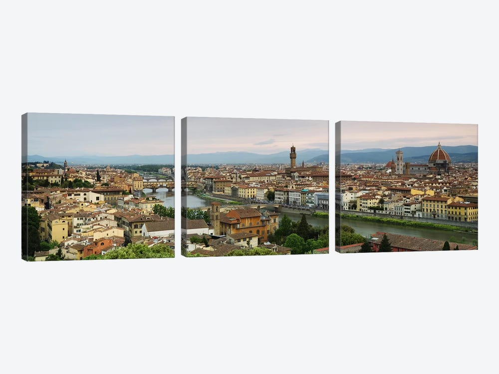 Buildings in a city, Ponte Vecchio, Arno River, Duomo Santa Maria Del Fiore, Florence, Tuscany, Italy by Panoramic Images 3-piece Canvas Art