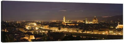 Buildings in a city, Ponte Vecchio, Arno River, Duomo Santa Maria Del Fiore, Florence, Tuscany, Italy by Panoramic Images Canvas Artwork