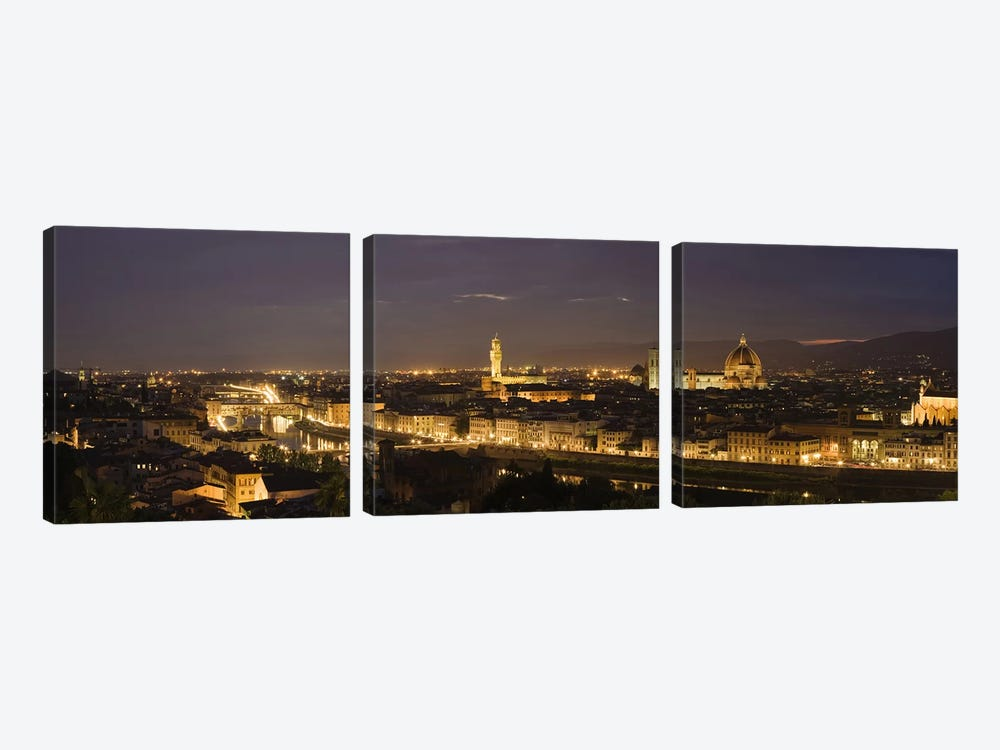 Buildings in a city, Ponte Vecchio, Arno River, Duomo Santa Maria Del Fiore, Florence, Tuscany, Italy by Panoramic Images 3-piece Canvas Print