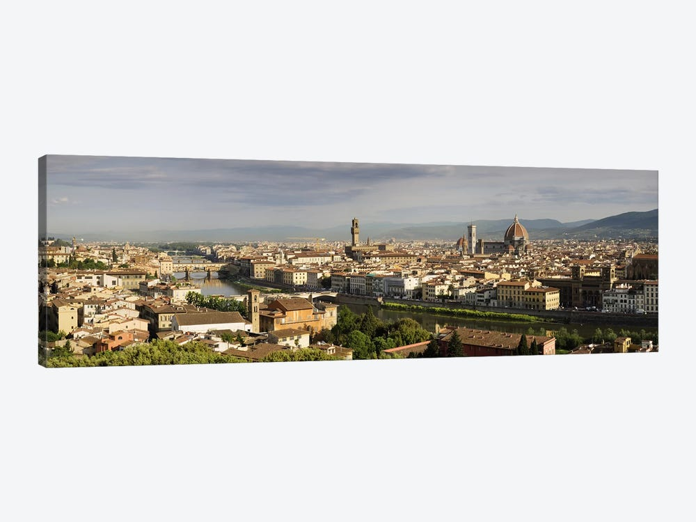 Buildings in a cityPonte Vecchio, Arno River, Duomo Santa Maria Del Fiore, Florence, Tuscany, Italy by Panoramic Images 1-piece Canvas Wall Art