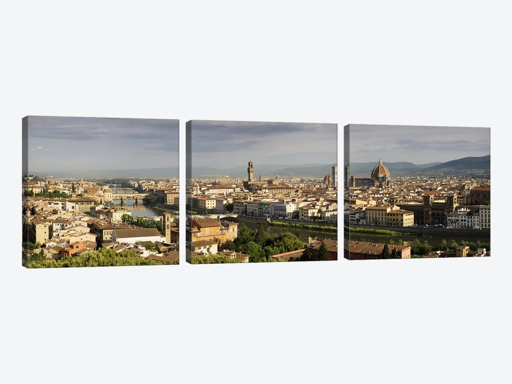 Buildings in a cityPonte Vecchio, Arno River, Duomo Santa Maria Del Fiore, Florence, Tuscany, Italy by Panoramic Images 3-piece Canvas Artwork