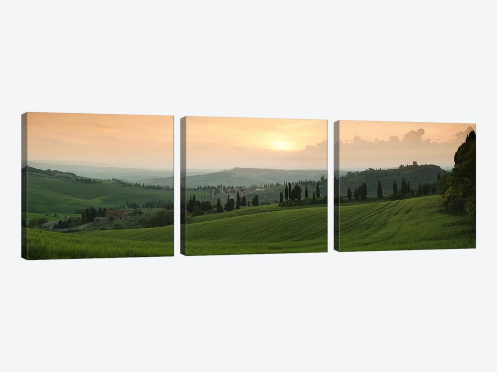 Countryside Landscape, Monticchiello, Val d'Orcia, Siena Province, Tuscany, Italy by Panoramic Images 3-piece Canvas Print