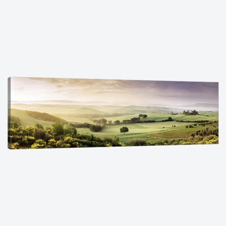 Misty Countryside Landscape, San Quirico d'Orcia, Val d'Orcia, Siena Province, Tuscany, Italy Canvas Print #PIM9329} by Panoramic Images Canvas Art Print