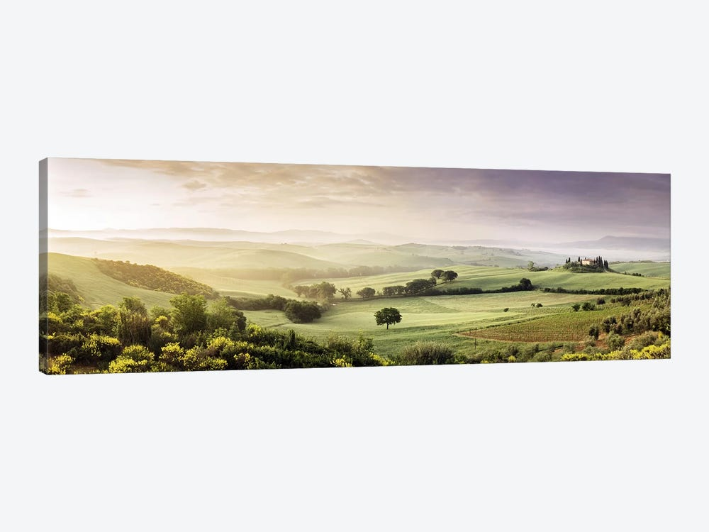 Misty Countryside Landscape, San Quirico d'Orcia, Val d'Orcia, Siena Province, Tuscany, Italy by Panoramic Images 1-piece Canvas Artwork