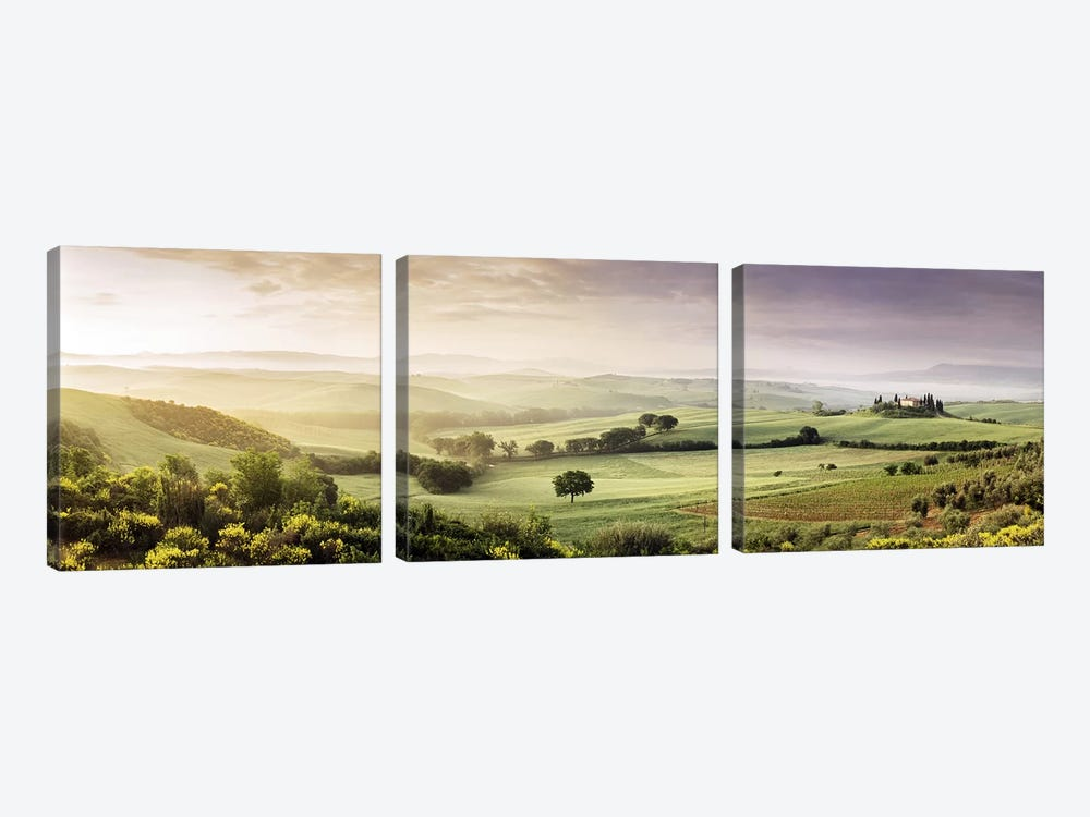 Misty Countryside Landscape, San Quirico d'Orcia, Val d'Orcia, Siena Province, Tuscany, Italy by Panoramic Images 3-piece Canvas Artwork