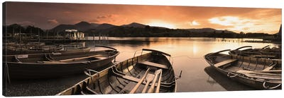 Boats in a lake, Derwent Water, Keswick, English Lake District, Cumbria, England Canvas Art Print