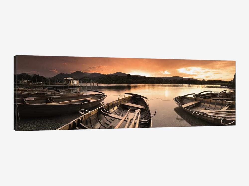 Boats in a lake, Derwent Water, Keswick, English Lake District, Cumbria, England by Panoramic Images 1-piece Canvas Artwork