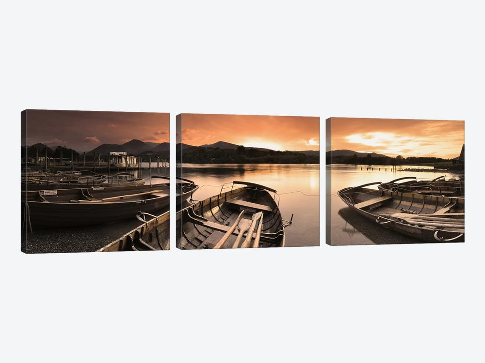 Boats in a lake, Derwent Water, Keswick, English Lake District, Cumbria, England by Panoramic Images 3-piece Canvas Art