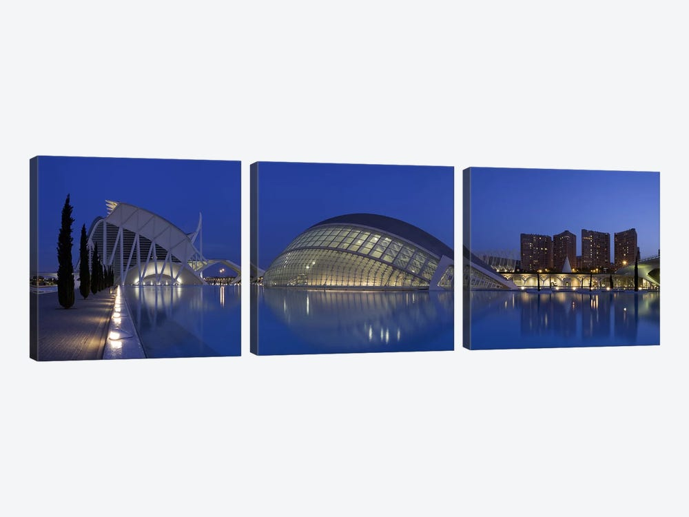 Opera house at the waterfront, Ciutat De Les Arts I Les Ciencies, Valencia, Spain by Panoramic Images 3-piece Canvas Print