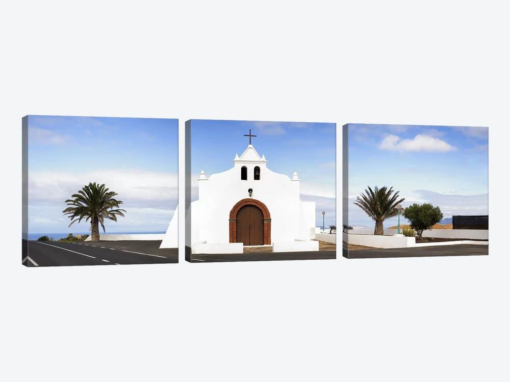 Chapel on a hill, Tiagua, Lanzarote, Canary Islands, Spain by Panoramic Images 3-piece Canvas Art Print