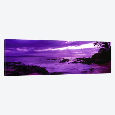 Cloudy Magenta Sunset, Makena Beach, Maui, Hawaii, USA Canvas Print #PIM9352} by Panoramic Images Canvas Wall Art