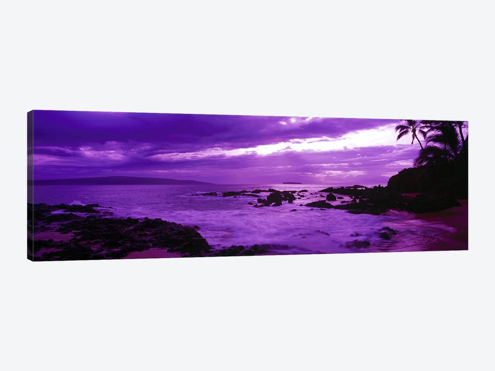 Cloudy Magenta Sunset, Makena Beach, Maui, Hawaii, USA by Panoramic Images 1-piece Canvas Wall Art