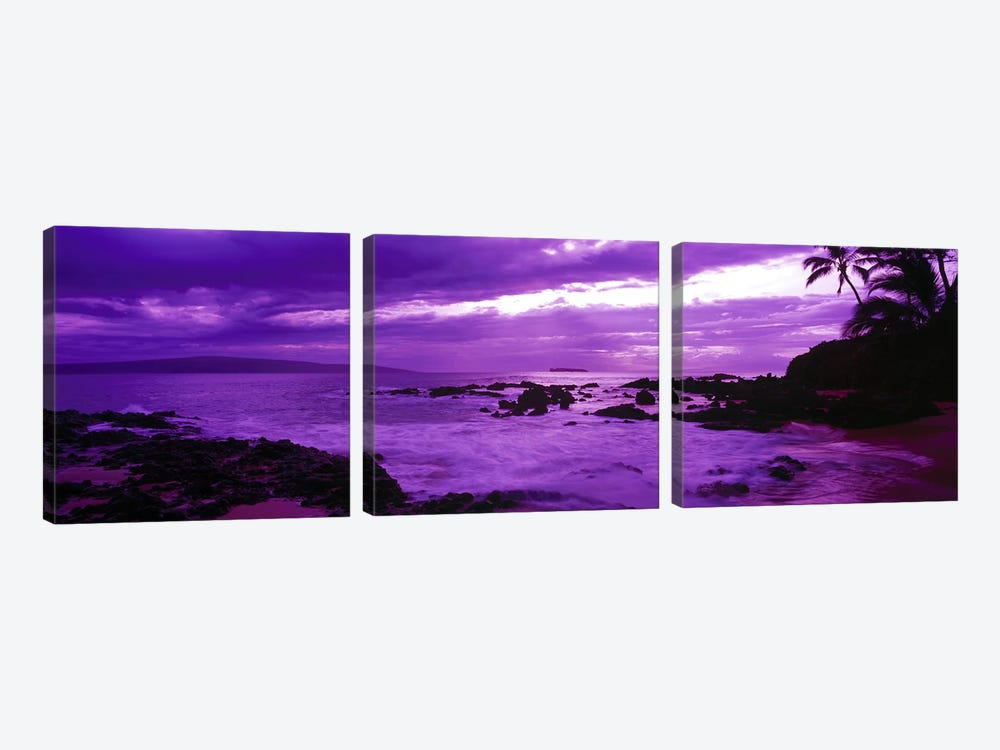 Cloudy Magenta Sunset, Makena Beach, Maui, Hawaii, USA by Panoramic Images 3-piece Canvas Artwork