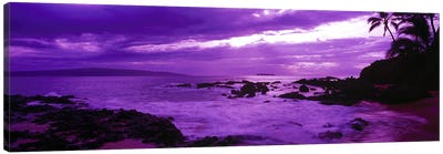 Cloudy Magenta Sunset, Makena Beach, Maui, Hawaii, USA Canvas Art Print